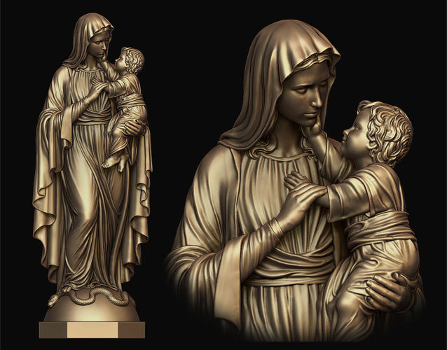 mary with child statue 3d model obj mtl stl 1