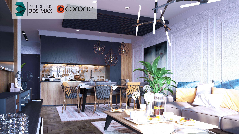 Corona Scene   Modern Living Dining Area 3D Model