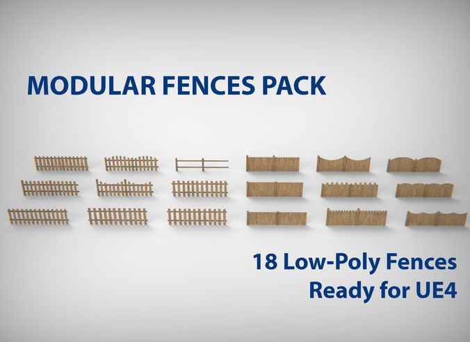 modular wood fence set  3d model low-poly max obj mtl 3ds fbx tga uasset 1