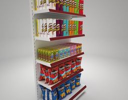 3D model Gondola Shelves with Potato Chips