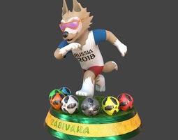 3D model Zabivaka Russia 2018 and Adidas Telstar 18 3