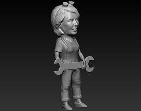 3D print model woman car mechanic