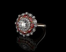 3D printable model Diamond And Ruby 18K Gold Rings