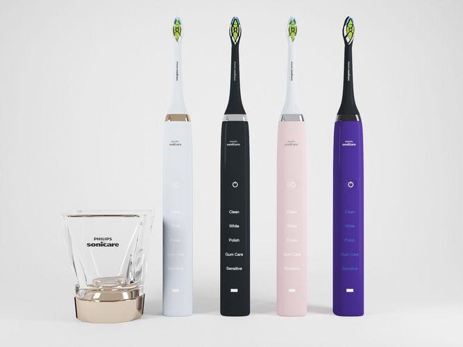 electric toothbrush set 3d model obj mtl fbx ma mb 1