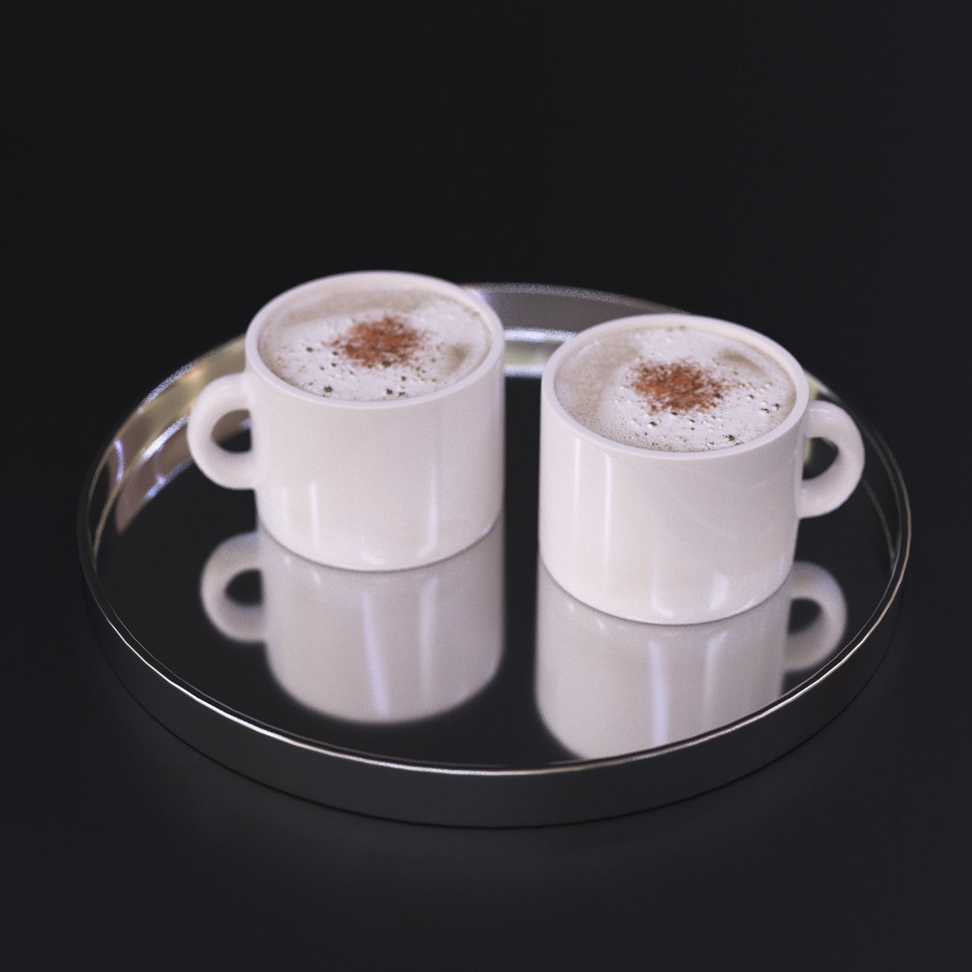 Cappuccino coffee on a chrome tray