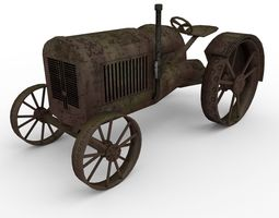 Low Poly tractor 3D asset low-poly