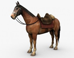 Horse with saddle 3D model