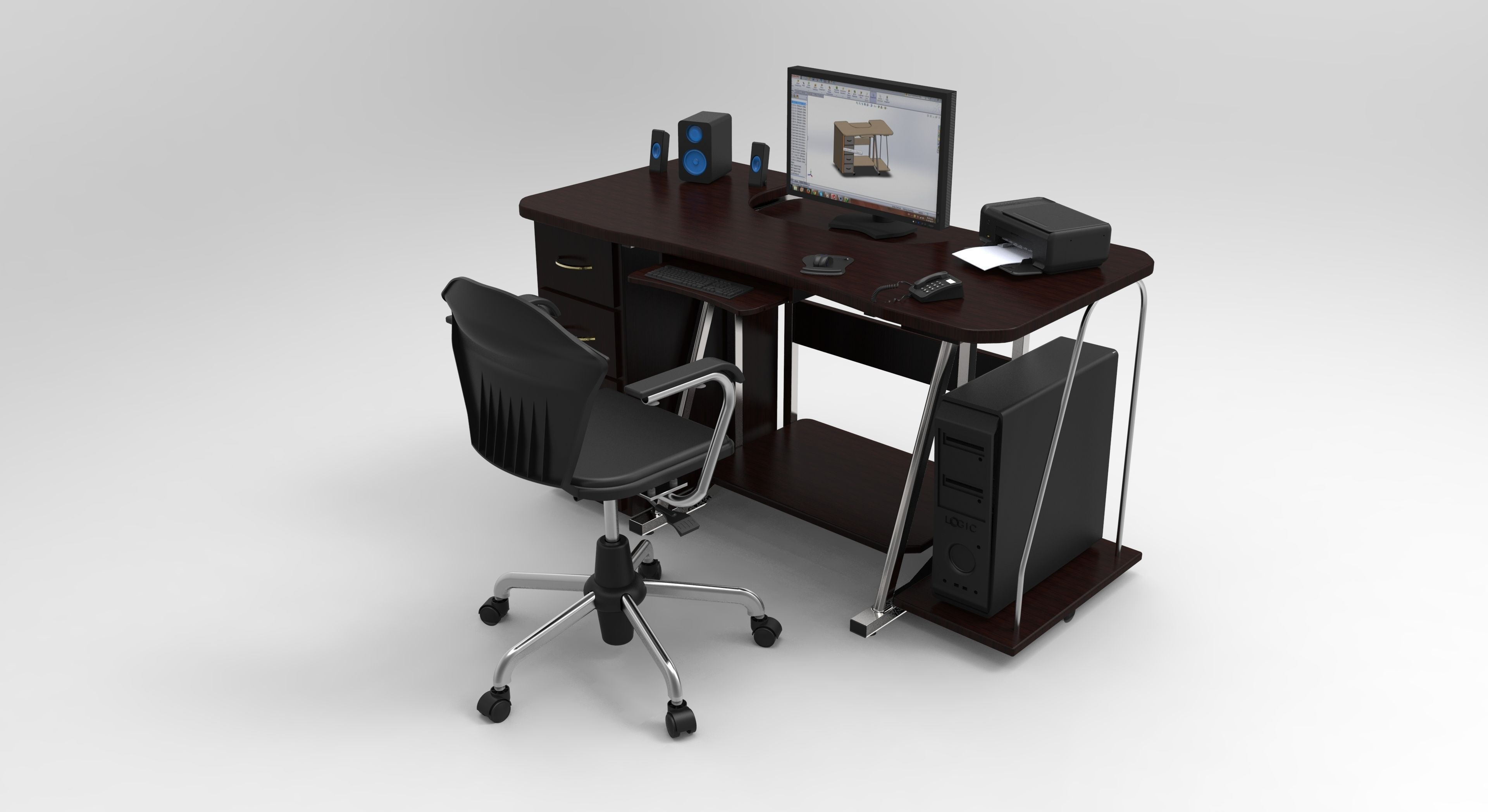 pc table 3 3D model SLDPRT SLDASM SLDDRW IGE IGS IGES