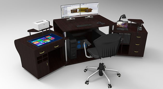 pc table 2 3d cgtrader