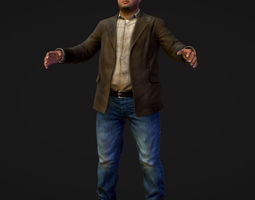 3D asset Realistic Man in Jeans Shirt and Jacket
