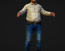 3D model Realistic Man in Jeans and Shirt