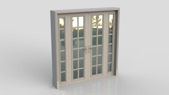 modern door 3d model low-poly max obj mtl 3ds fbx 1