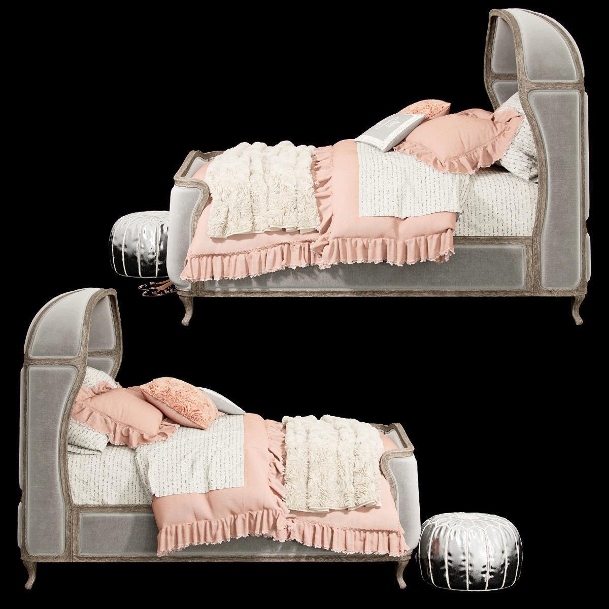 VERSAILLES UPHOLSTERED BED 3D Model CGTrader