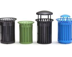 3D model Park Trash Can Set