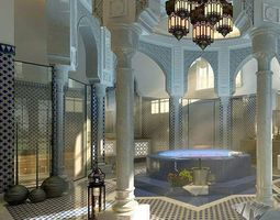 3d model hall room interior with exotic tiles