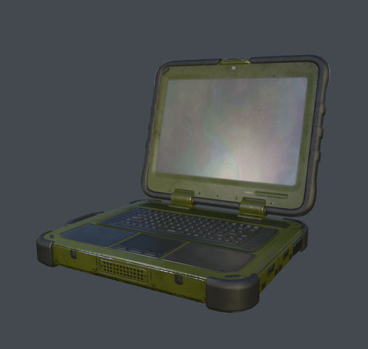 shielded military laptop 3d model low-poly max obj mtl 3ds fbx tga 1
