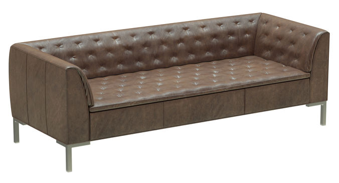 ... Crate And Barrel Grafton Leather Chesterfield Sofa 3d Model Max Obj Mtl  3ds Fbx 2 ...