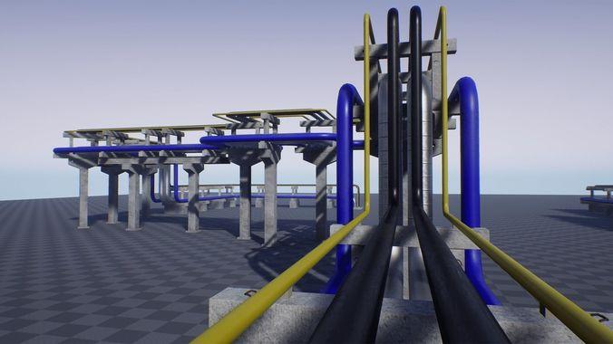 modular industrial pipe concrete trestle 3d model low-poly fbx unitypackage prefab mat uasset 1