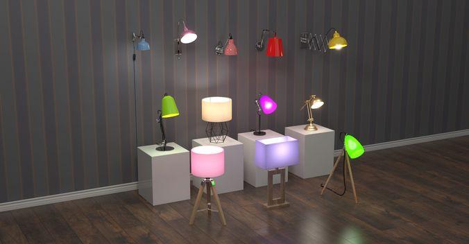 12 home lamps set 3d model max 1