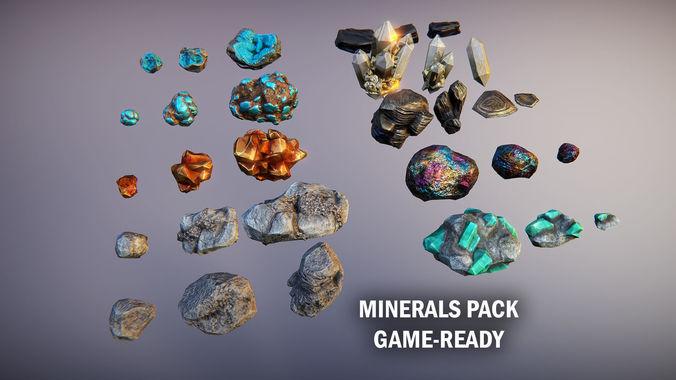 minerals pack 3d model max obj mtl fbx tga unitypackage prefab 3b 1
