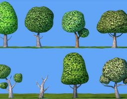 Low Poly Cartoon Tree Pack Textured 3D model