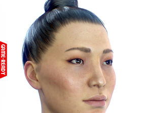 Average Asian Female Head 3D asset