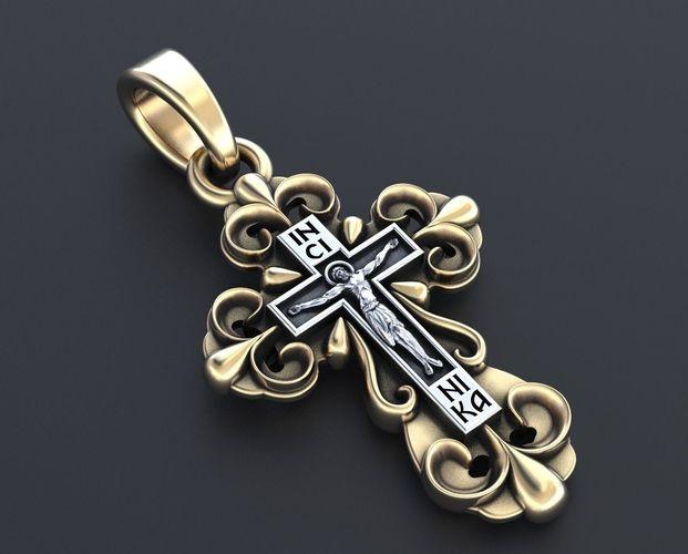 cross with a crucifix in gold 350 3d model stl 3dm 1