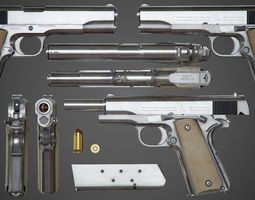 3D asset Colt M1911 A1 Chrome - PBR Game-Ready