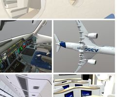 3D model Airbus A350 - 900 With Cockpit and full Cabin