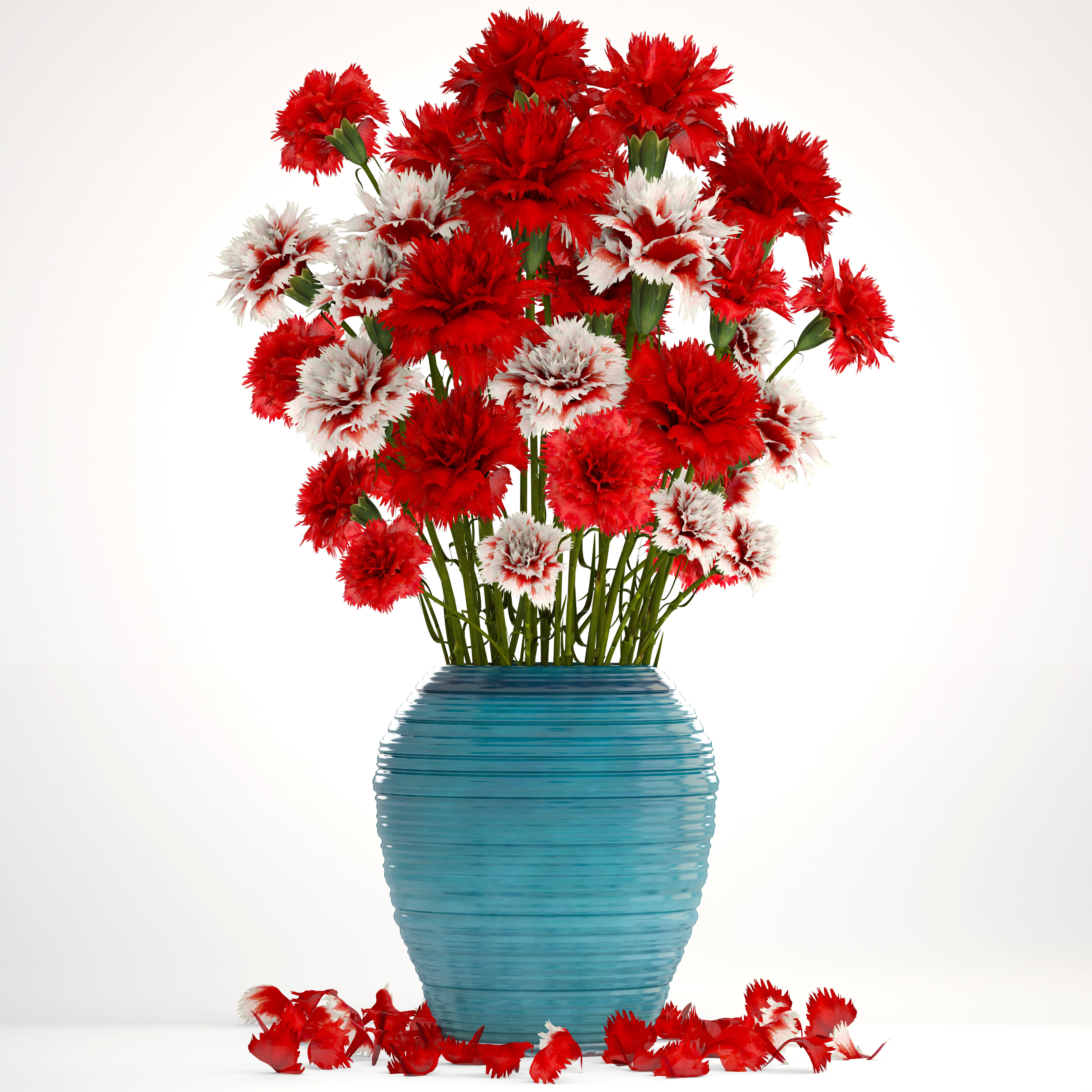 Bouquet Of Flowers Red Carnation 3d Cgtrader
