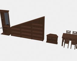 Dining Room Pack 3D Asset Animated