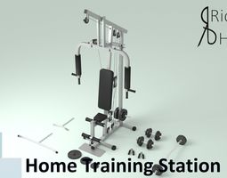 3D model Home Gym Station and Free Weights