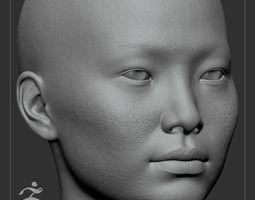 3D Average Asian Female Head Basemesh