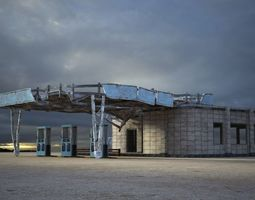 realtime A very old gas station building 3D model