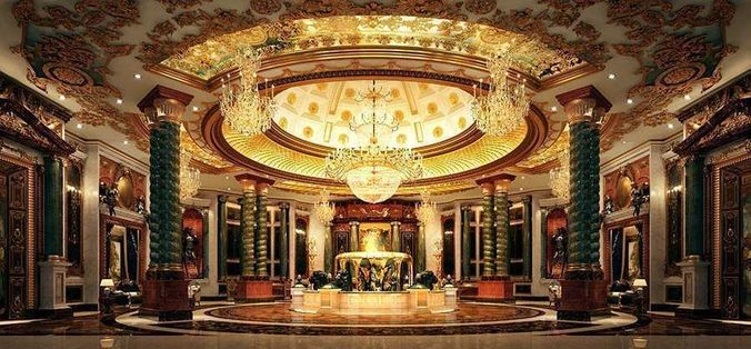 Luxurious Hall Interior With Chandeliers 3d Model Tga