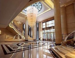 hall room interior with exotic marble floor 3d