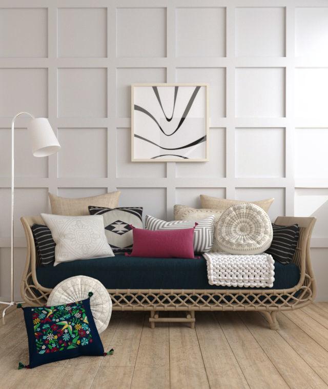 Bamboo sofa rattan chair sofa wicker sofa knit blanket scene