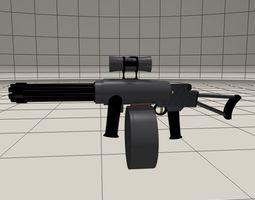Shoulder fired mini Gatling gun 3D model