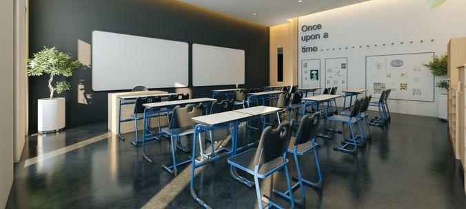 Modern Classroom Model ~ Modern classroom d model cgtrader
