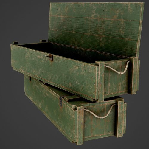 painted wooden ammo box - pbr game-ready 3d model low-poly max obj mtl fbx 1