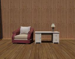 3D asset Chair-Table-Lamp Set