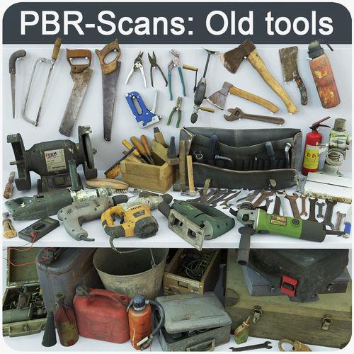 collection old tools pbr 3d model obj mtl fbx ma mb pdf 1