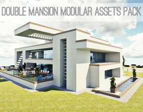 game-ready Modular Double Mansion Assets Pack
