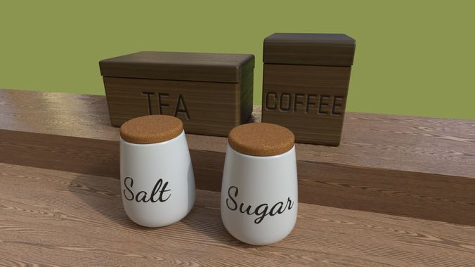 Kitchen Containers for Coffee - Tea - Sugar - Salt 3D model & Kitchen Containers for Coffee - Tea - Sugar - Salt 3D
