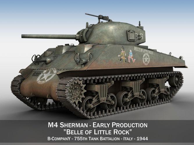 m4 sherman - belle of little rock 3d model obj mtl 3ds fbx c4d lwo lw lws 1