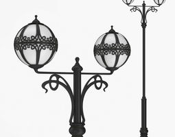 3D Street lamp two bulb v4f