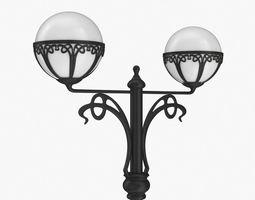 3D Street lamp two bulb v4h