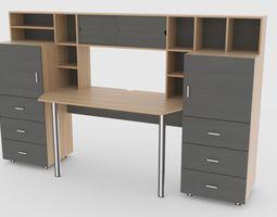 computer desk wall 3 3D asset