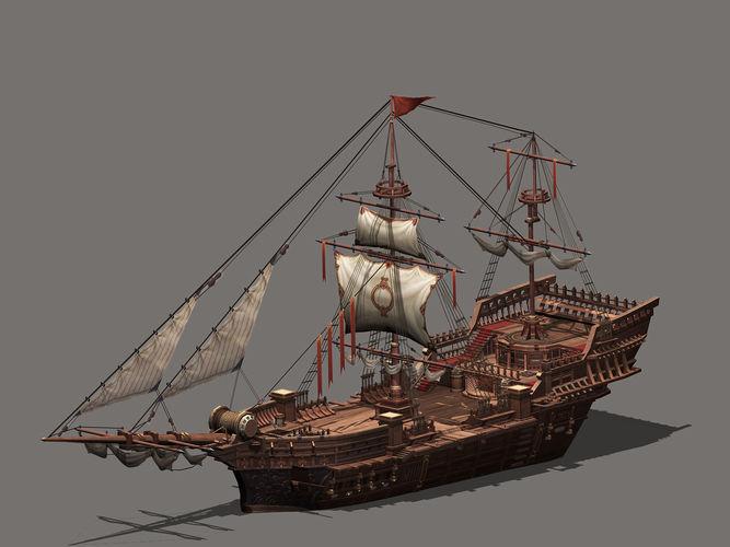 sailing vessel 3d model low-poly max obj mtl 3ds fbx c4d 1