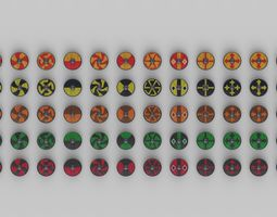 3D asset Round Shield Collection 02